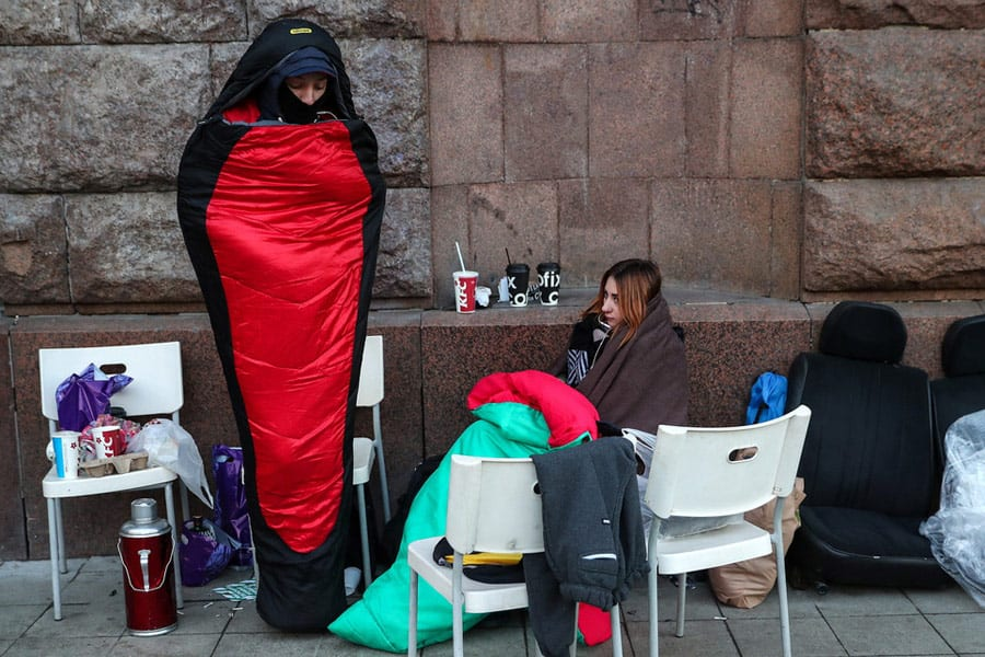 Loyal Apple Customers waiting outside Apple stores in Moscow to buy the new Apple X