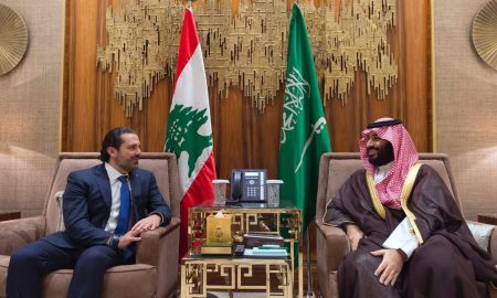 Saudi Crown Prince Mohammed bin Salman, right, meets with Lebanese Prime Minister Saad