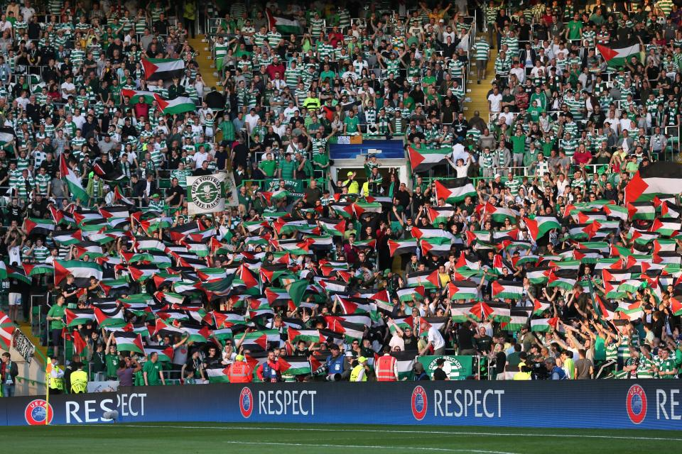 Celtic's intelligent supporters have always supported the injustice as they raised Palestine flags against Israeli team Hapoel Be'er Sheva last year