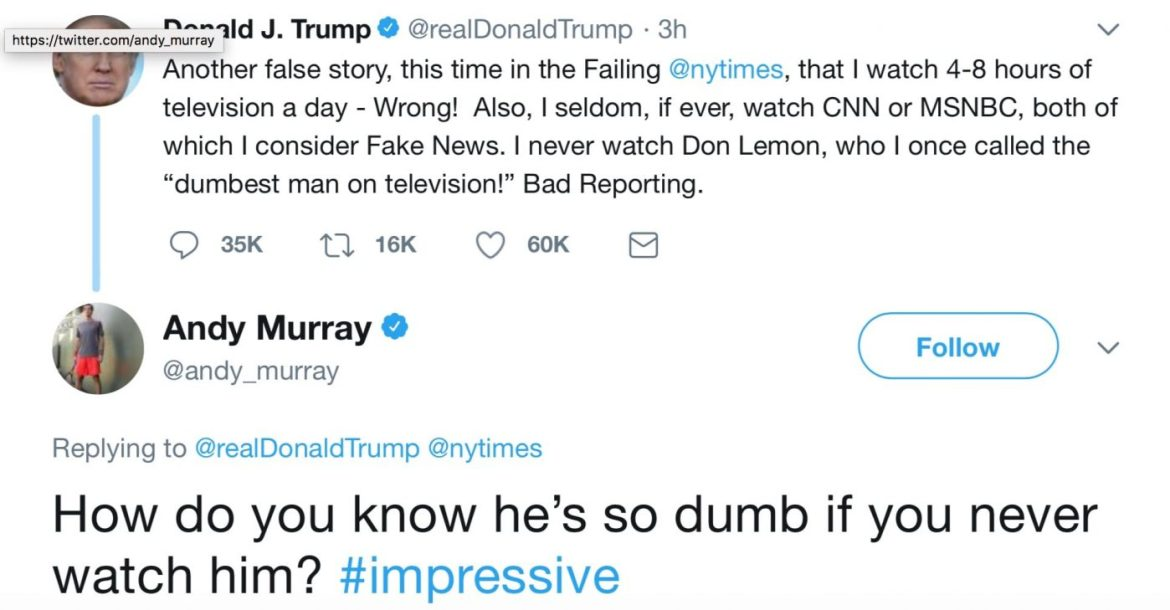 Murray v Trump - The US is an OPEN republic - Andy Murray quizzes Donald Trump