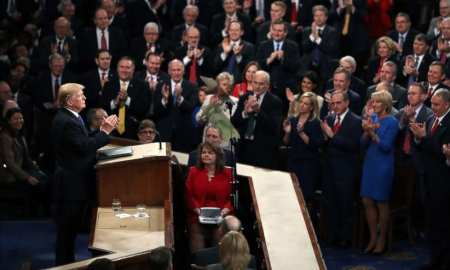 President Donald Trump delivers the State of the Union address in the chamber of the U.S. House of Representatives.