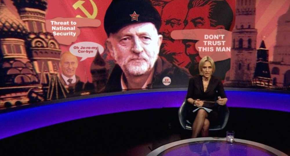 BBC Newsnight showing an image of Corbyn - Propaganda