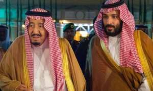 A handout picture provided by the Saudi Royal Palace on December 13, 2017, shows Saudi King Salman bin Abdulaziz (R) and Saudi Crown Prince Mohammed bin Salman in Riyadh