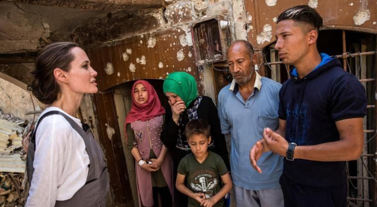 UNHCR Special Envoy Angelina Jolie uring a visit to the Old City in West Mosul, Iraq