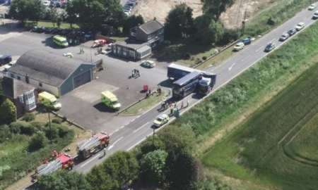"""Cambridgeshire Police has said """"a total of 20 people who were travelling in the bus, were injured - nine are seriously injured and 11 have minor injuries""""."""