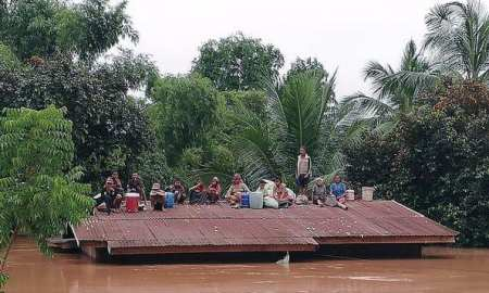 Xe Pian Xe Nam Noy dam collapsed in a village near Attapeu province in Laos, on Tuesday.
