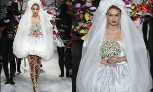 Milan Fashion Week Gigi Hadid in Jeremy Scott's Wedding dress.