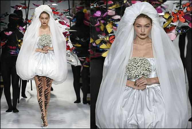 Gigi rocks the wedding dress as she steals the show