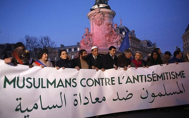 French Muslim gather at the 'Republique square' to protest against anti-Semitism in Paris