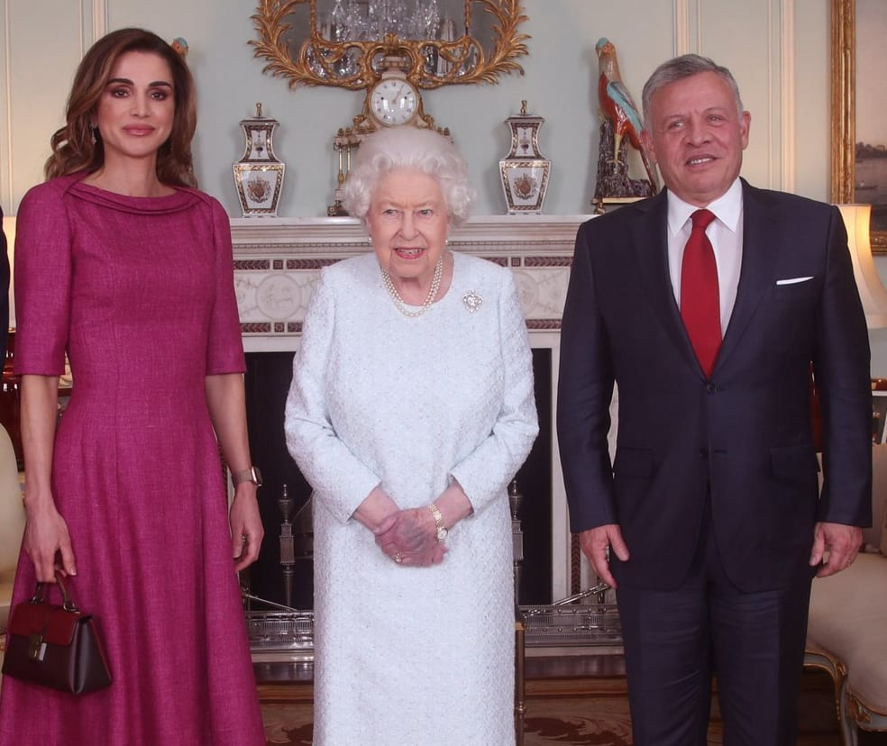 King Abdullah of Jordan and his wife Queen Rania have a private audience with Queen at Buckingham Palace