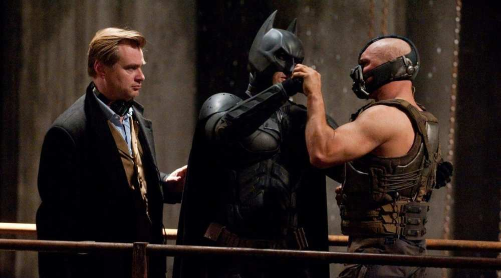 Christopher Nolan, Tom Hardy, Christian Bale on set of The Dark Knight Rises