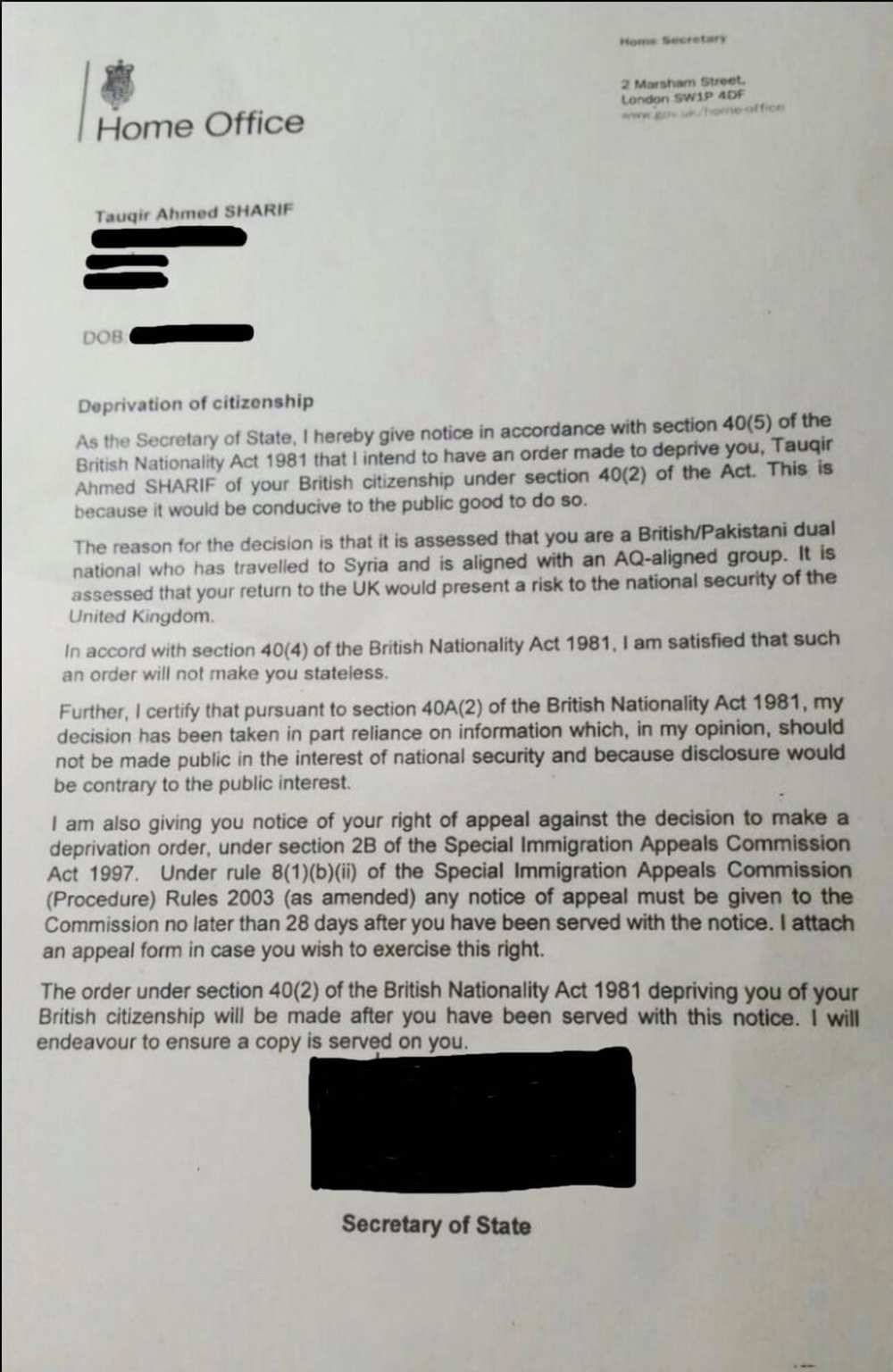 Tox letter