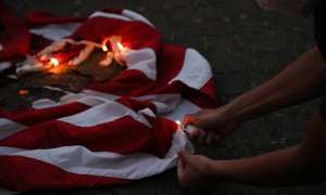 Portland protests American flag burning