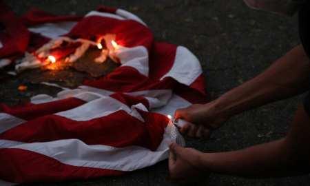 Portland protests American flag burning