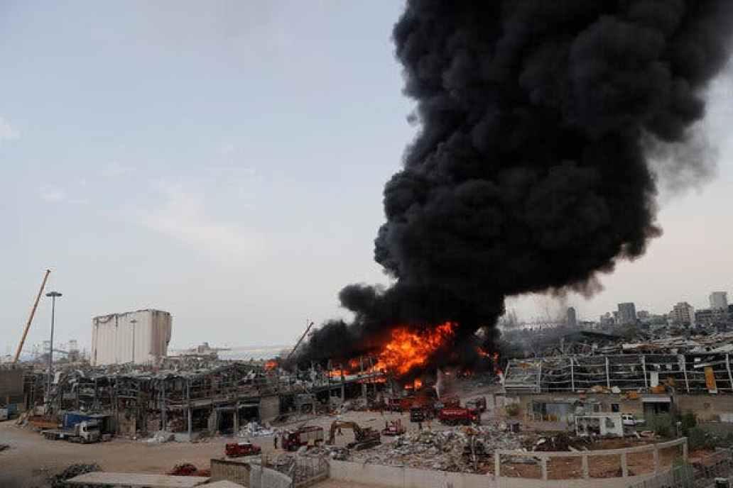 Beirut port on fire again