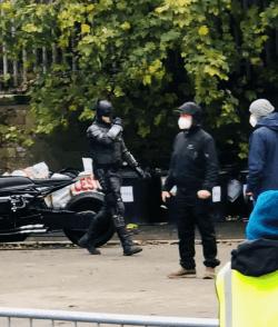 Robert Pattinson in the New Batman suit in Liverpool filming during lockdown