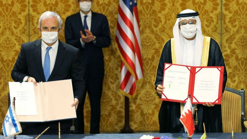 Israel and Bahrain peace deal is confirmed as both parties signed a joint communique to formalise nascent ties at a ceremony in Manama on Sunday