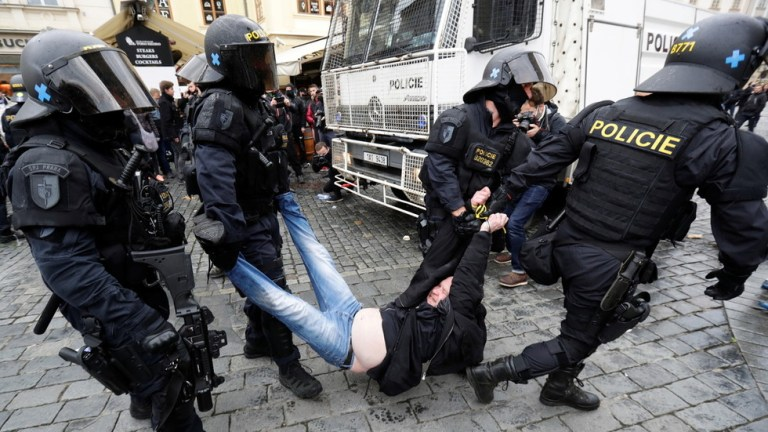Protest against Covid-19 rules in Prague escalates into clashes with police