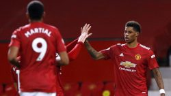 Rashford celebrates Manchester United's first goal from Sunday's Premier League results