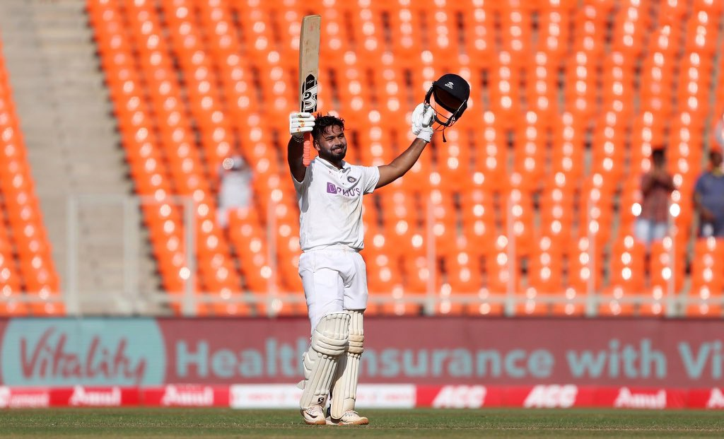 Rishabh Pant celebrates his century for India against England in day 2 of the fourth test