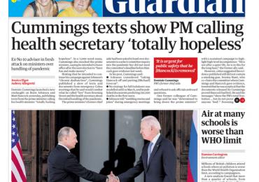 The Guardian - Cummings texts show PM calling Matt Hancock 'totally hopeless'