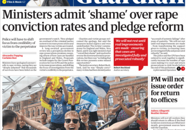 The Guardian - Ministers apology to rape victims,  pledges change