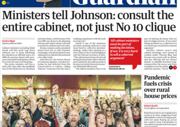 The Guardian - Ministers tell Johnson: consult the entire cabinet not just No 10 clique