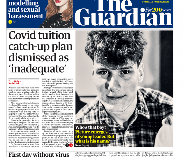 The Guardian - Govt 'inadequate' Covid-19 school plans