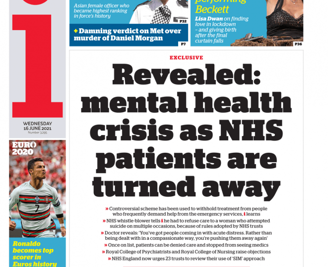 The i - Mental health crisis as NHS patients turned away