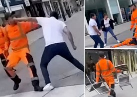 Binmen kicked out after being filmed fighting shoppers
