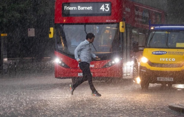 FLASH flooding hit parts of London and the South today