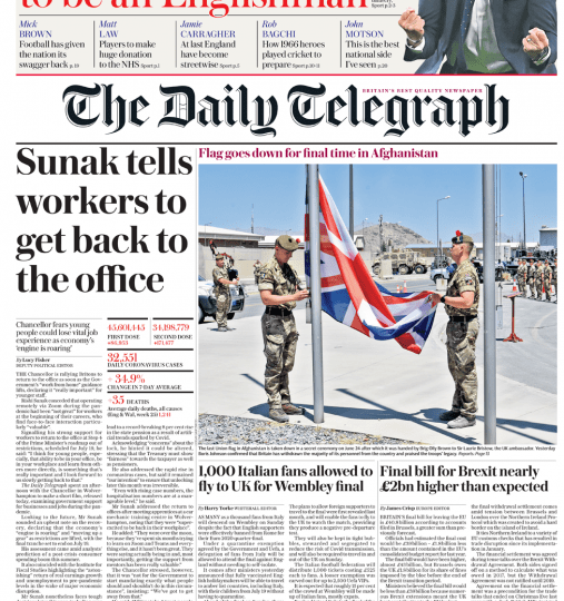 The Daily Telegraph - Sunak tells workers to get back to the office