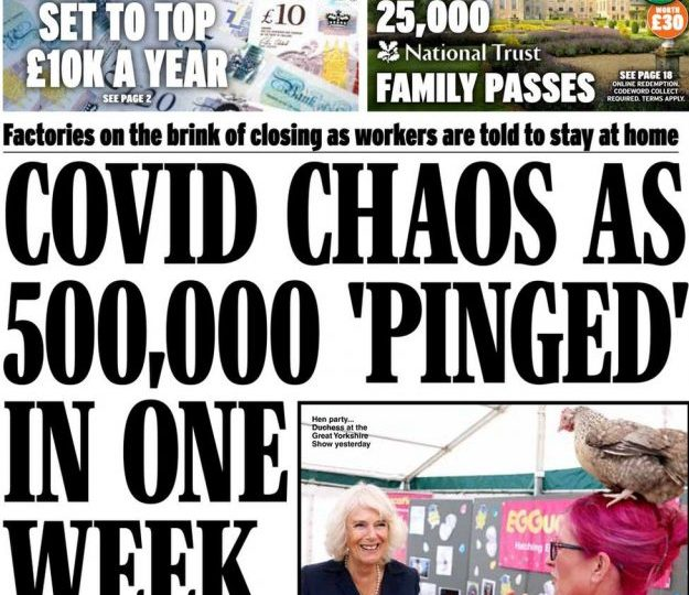 Daily Express: Covid: 500,000 pinged in one  week