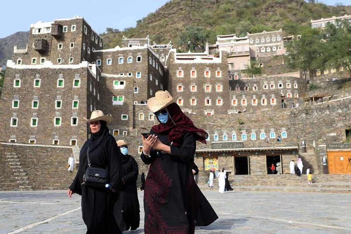 Tourists visit the cultural village of Rijal Almaa in the outskirts of Abha, Saudi Arabia July 17, 2020. (Reuters) Coronavirus Saudi Arabia to welcome tourists starting from August 1