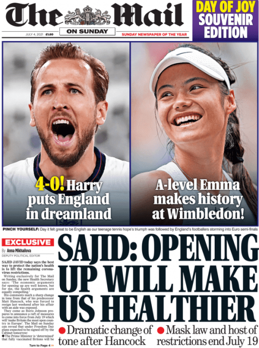 Sunday Papers: Euro's 2020 -England roar in Rome - End of Covid restrictions