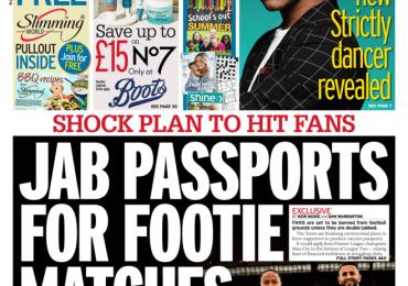 Sunday Mirror - 'Jab passports for footie matches'