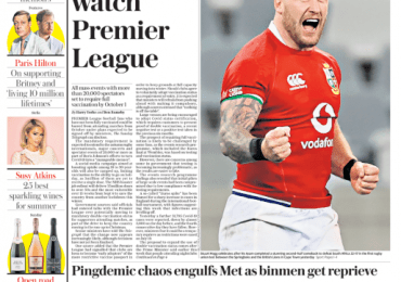 Sunday Telegraph - 'Double jab needed to watch Premier league'
