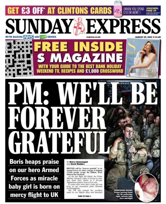 Sunday Papers - 'Afghan blame game Erupts' & 'UK out of Afghanistan after 20 years'