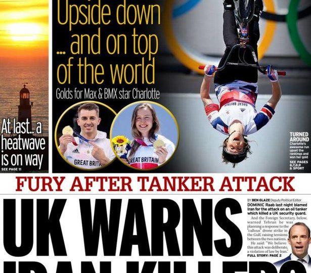 Daily Mirror - 'UK warns Iran killers'