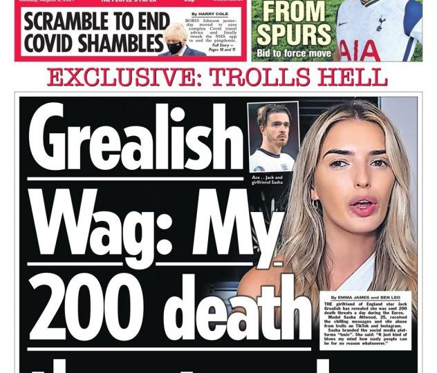 The Sun - 'Jack Grealish wag 200 death threats'