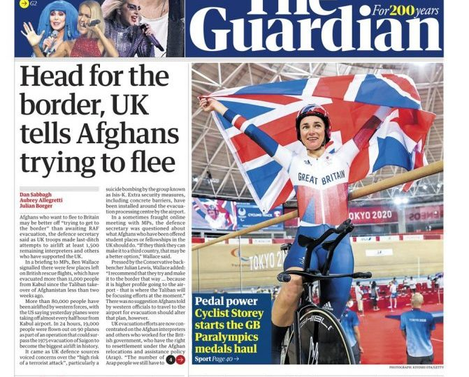 The Guardian - 'Head for the border, UK tells Afghans trying to flee'