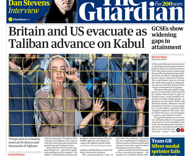 The Guardian - 'Britain and US evacuate as Taliban advance'