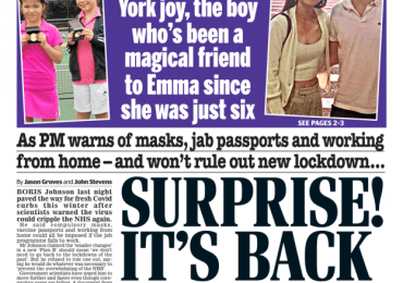 Daily Mail - 'Suprise! It's back to panic stations'