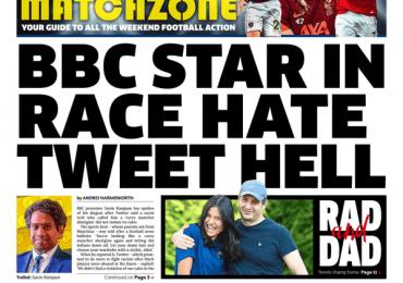 The Metro - 'BBC star race hate tweet hell'
