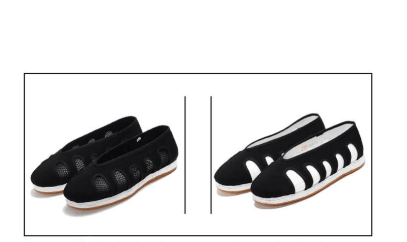 Black Taoist Cloud Shoes with Net Windows Black and White 23