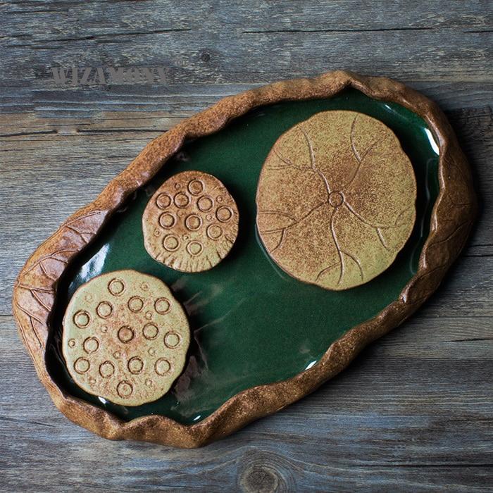 Unique Ceramic Lotus Tea Ceremony Tray