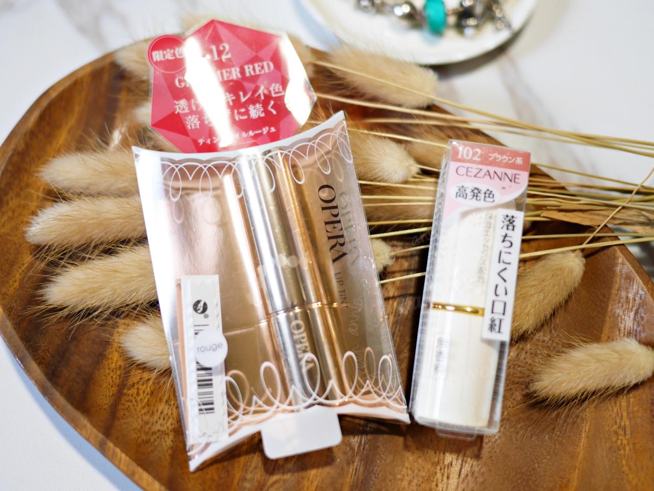 開放櫃唇膏推薦:ORERA渲漾水色唇膏#12瑩紅 和CEZANNE #102裸色豆沙