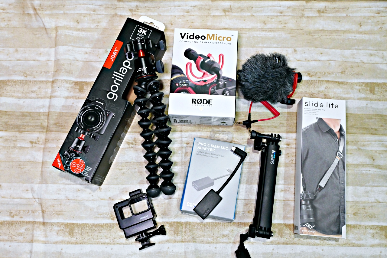 JOBY GorillaPod 3K Pro Kit、 RODE Video Micro 指向性麥克、PD快裝背帶、GoPro三向多功能手持桿和麥克風接頭 AAMIC-001