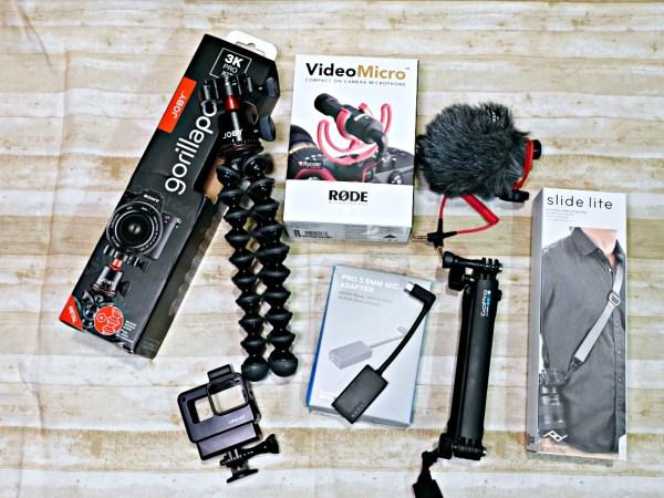 JOBY GorillaPod 3K Pro Kit、 RODE Video Micro 指向性麥克、PD快裝背帶、GoPro三向多功能手持桿和麥克風接頭 AAMIC-001 @吳大妮。Annie