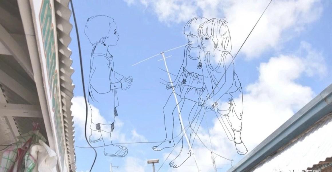 마지막 날 아이들이 놀면서 대화하고 있는 모습을 스케치로 표현해 보았습니다